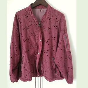 Free People Daisy Jane Bomber Jacket Floral Embroi
